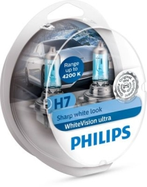 Philips Whitevision Ultra H7 + W5W 2 stk
