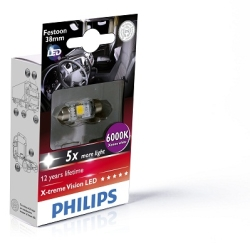 Philips C5W Festoon X-tremeVision 38mm 6000K LED